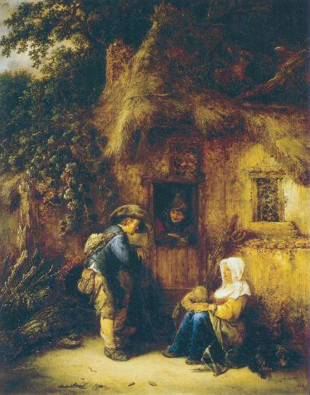 Traveller At A Cottage Door 1649 | Isaack Van Ostade | Oil Painting