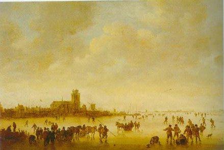 Winter Landscape With Figures On The Ice 1643   Jan Josephsz Van Goyen   Oil Painting