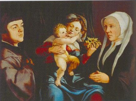 The Madonna Of The Daffodils With The Christ Child And Donors 1535 | Jan Van Scorel | Oil Painting