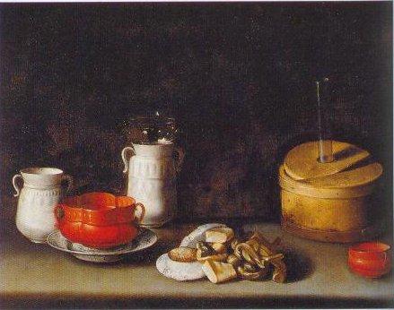 Still Life With Crockery Andd Cakes 1627 | Juan Van Der Hamen Y Leon | Oil Painting