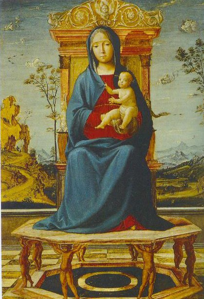 The Virgin And Child Enthroned 1495 | Lorenzo Costa | Oil Painting