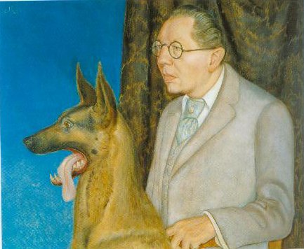 Portrait Of Hugo Erfurth With His Dog 1926 | Otto Dix | Oil Painting
