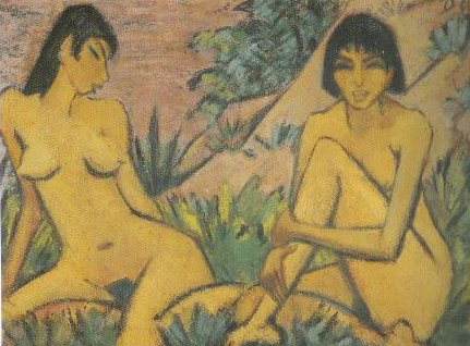 Two Women Seated In The Dunes 1922 | Otto Mueller | Oil Painting