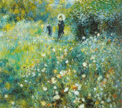 Woman With A Parasol In A Garden 1873 | Pierre Auguste Renoir | Oil Painting
