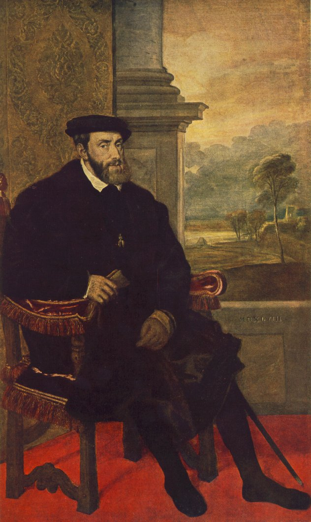Portrait Of Charles V Seated   Titian   Oil Painting