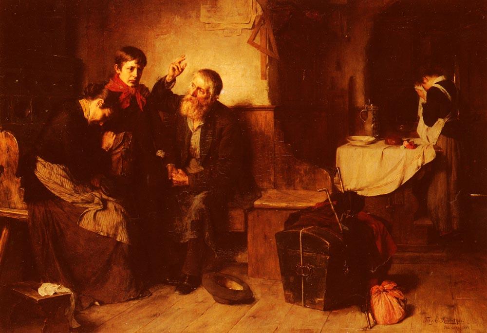 Depart De La Famille   Toby Edward Rosenthal   Oil Painting