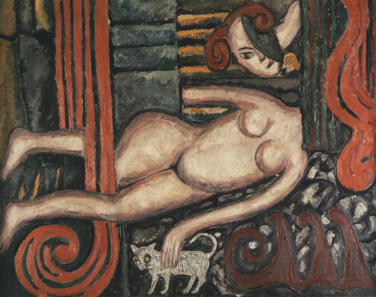 Nude With A Cat | Tytus Czyzewski | Oil Painting