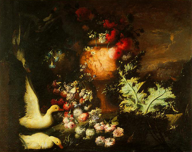 Composition with Ducks Cascade of Flowers on Water and Engraved Vase with Flowers and Thistle Leaves | Andrea Belvedere | Oil Painting