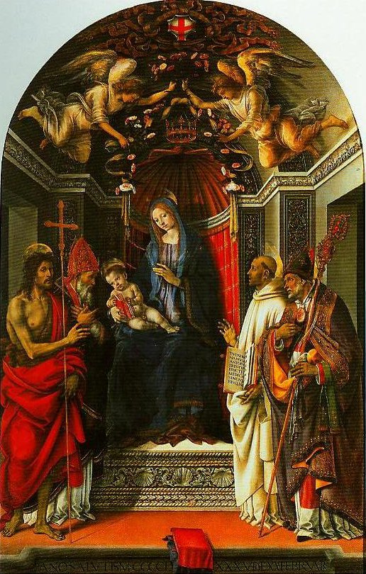 Madonna and Child Enthroed with SS John the Baptist Victor Bermard and Zenobius | Filippino Lippi | Oil Painting