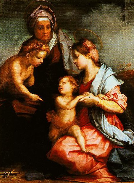 Madonna and Child with SS Elizabeth and the Young John (The Medici Holy Family) | Andrea Del Sarto | Oil Painting