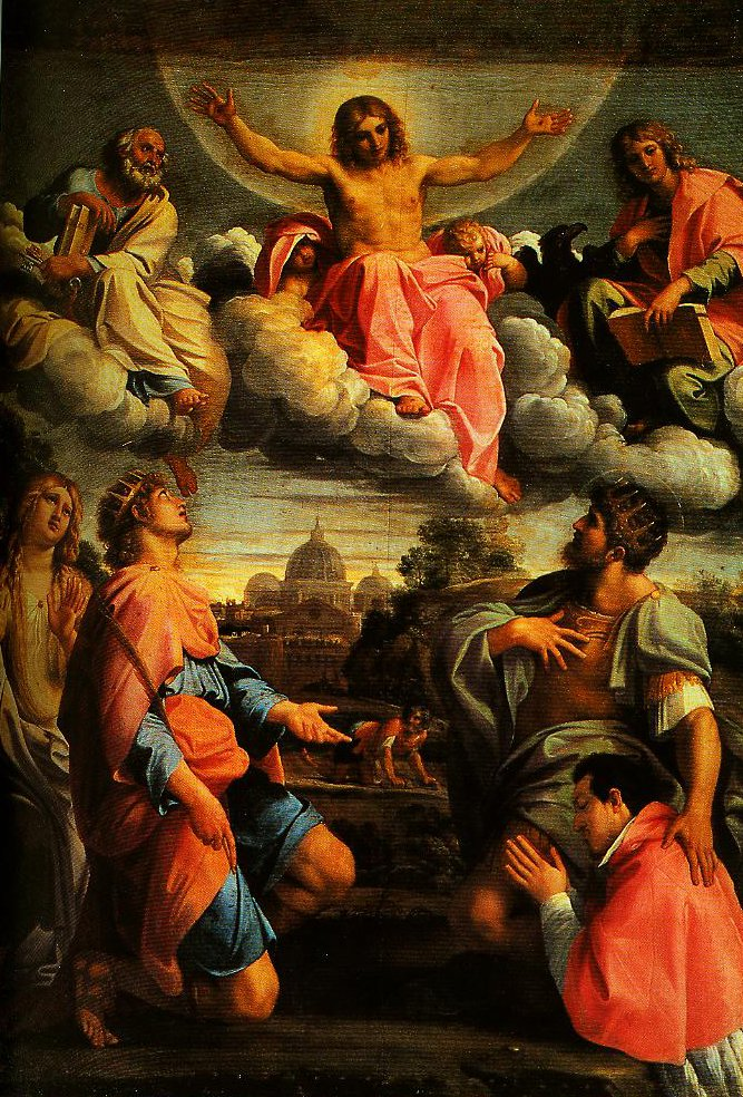 Christ in Glory and SS Peter John the Ecangelist Mary Magdalen and Ermengild Martyr with Odardo Farnese | Annebale Carracci | Oil Painting