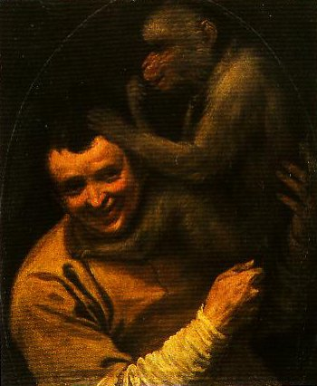 Portrait of a Young Man with a Monkey | Annebale Carracci | Oil Painting