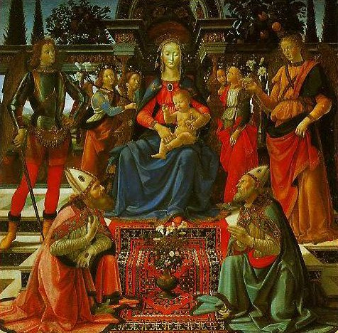 Madonna and Child Enthroned with Four Angels the Archangels Michael and Raphael and SS Giusto and Zenobius | Domenico Ghirlandaio | Oil Painting