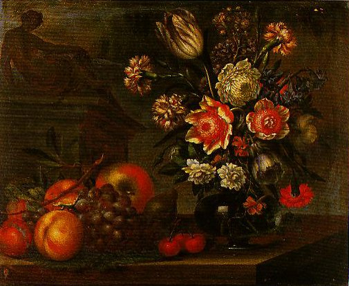Still Life with a Vase of Flowers and Fruit | Bartolomeo Ligozzi | Oil Painting