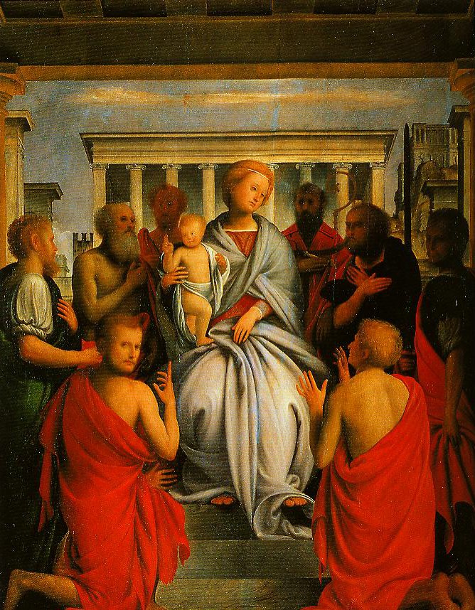 Madonna and Child with Eight Saints | Bartolomeo Suardi called Bramantino | Oil Painting