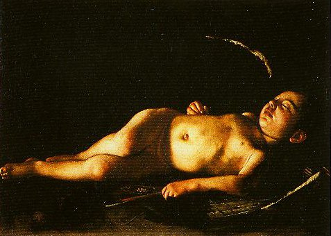 Sleeping Cupid   Caravaggio   Oil Painting