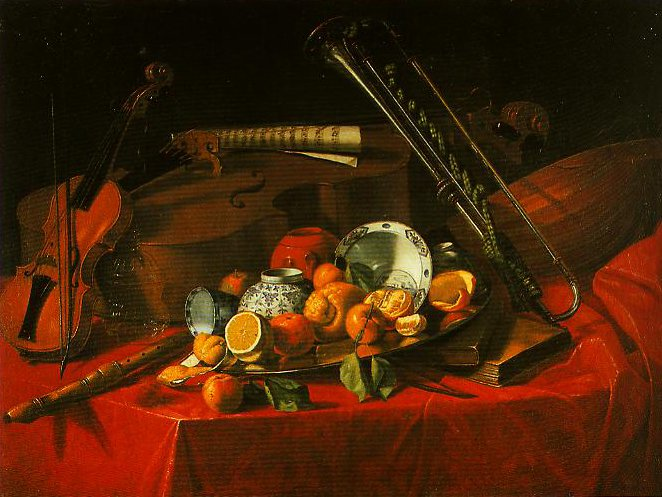 Still Life with Fruit a Dish a Book and a Flute | Cristoforo Munari | Oil Painting