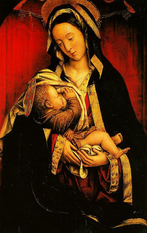 Madonna and Child (Bright Red Background) | Defendente Ferrari | Oil Painting