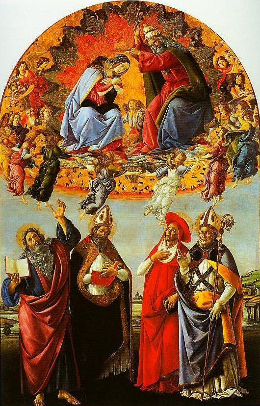 The Coronation of the Virgin with SS Eligius John the Evangelist Augustione and Jerome | Sandro Botticelli | Oil Painting