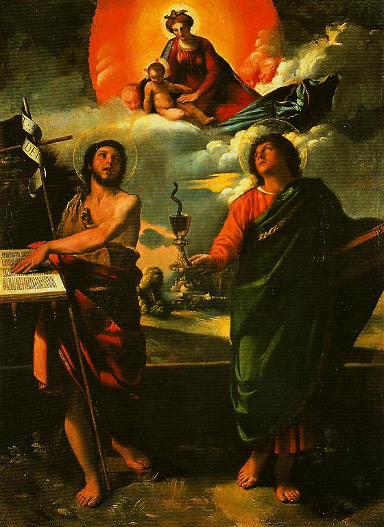 Madonna in Glory with SS John the Baptist and John the Evangelist | Dosso Dossi | Oil Painting