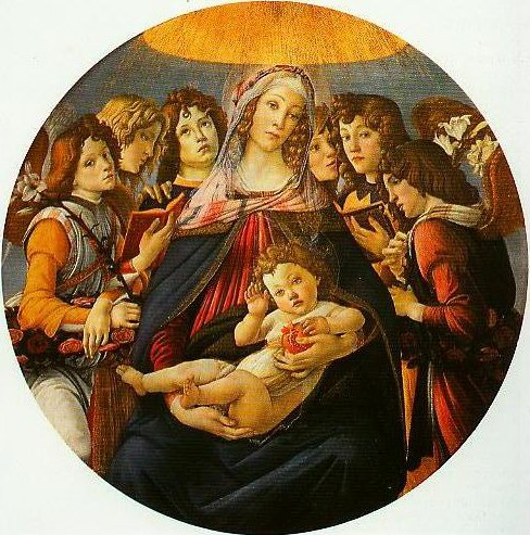 Madonna and Child with Angels (Madonna of the Pomegranate) | Sandro Botticelli | Oil Painting