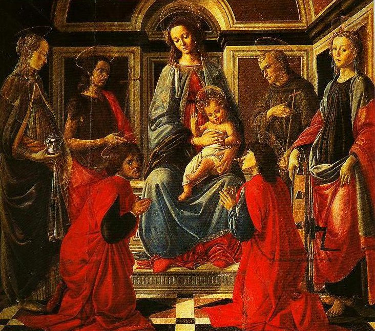 The Madonna and Child Enthroned with SS Mary Magdalen Catherine of Alexandria John the Baptist Francis and Cosmas and Damian | Sandro Botticelli | Oil Painting