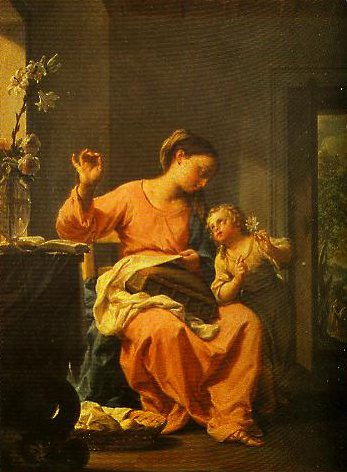 Madonna and Sewing with Child | Francesco Trevisani | Oil Painting