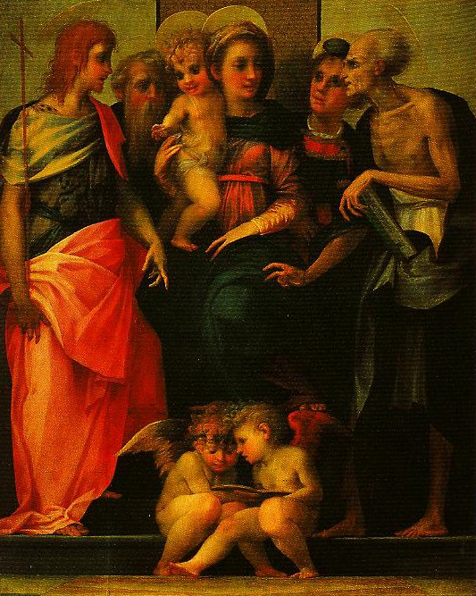 Madonna Enthroned with SS John the Baptist Anthnoy Abbot Stephen and Benedict (Altarpiece of Santa Maria Nuova) | Rosso Fiorentino | Oil Painting