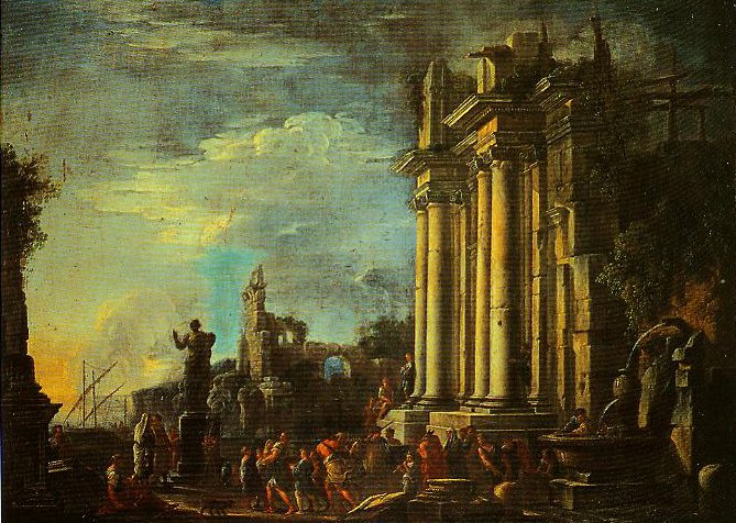 Landscape with Ruins and a Sacrificial Scene | Giovanni Ghisolfi | Oil Painting