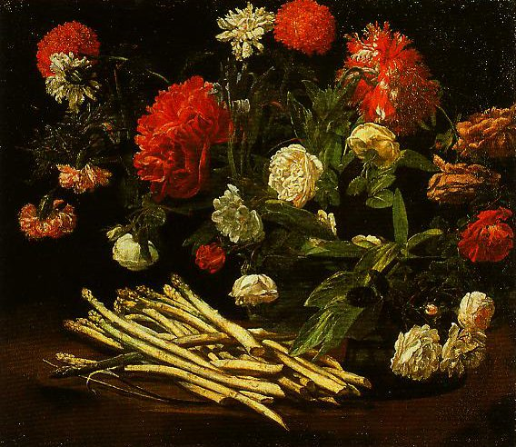 Still Life with Roses Asparagus Peonies and Carnations | Giovanni Martinelli | Oil Painting