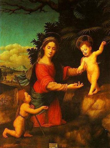 Madonna and Child with the Young St John The Baptist (Madonna of the Palm) | Giuliano Bugiardini | Oil Painting