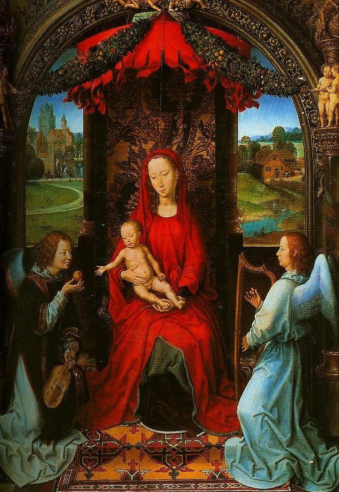 Maddonna and Child with Two Angels | Hans Memling | Oil Painting