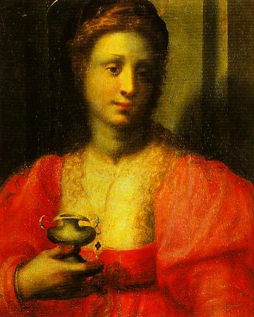 Portrait of a Woman Dressed as Mary Magdalen | Domenico Puligo | Oil Painting