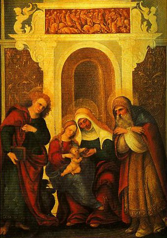 Madonna and Child with St Anne | Ludovico Mazzolino | Oil Painting