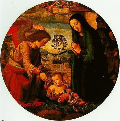 The Adoration of the Child with an Angel | Mariotto Albertinelli | Oil Painting