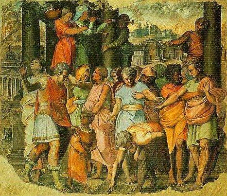 Tarquin the Bold Founds the Tomple of Jove on the Campidoglio   Perino Del Vaga   Oil Painting