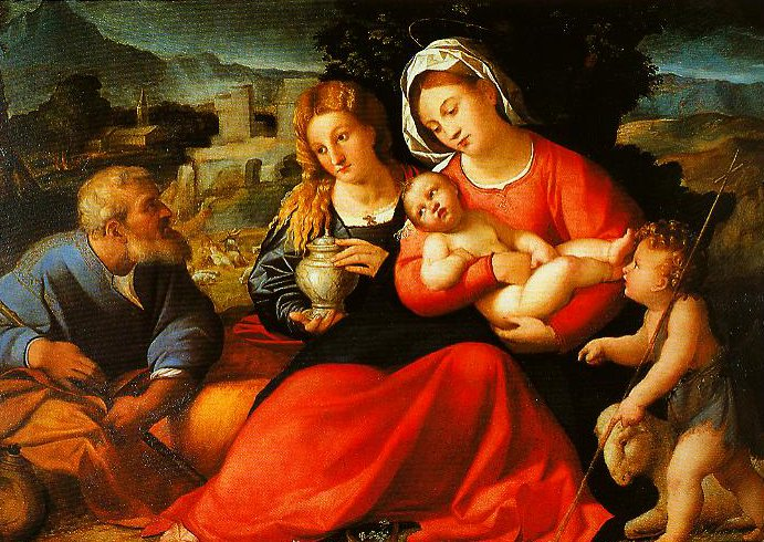The Holy Family with the Young St John and St Mary Magdalen | Palma Vecchio | Oil Painting