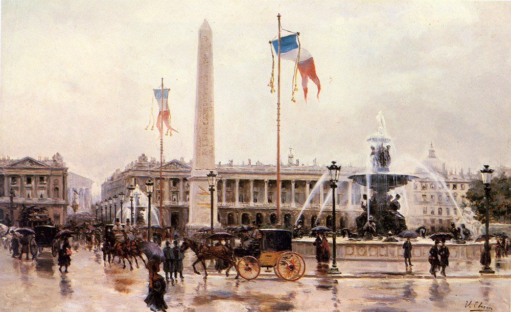 A View Of The Place De La Concorde | Ulpiano Checa Y Sanz | Oil Painting