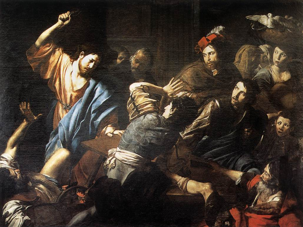 Christ Driving The Money Changers Out Of The Temple 1618 | Valentin De Boulogne | oil painting