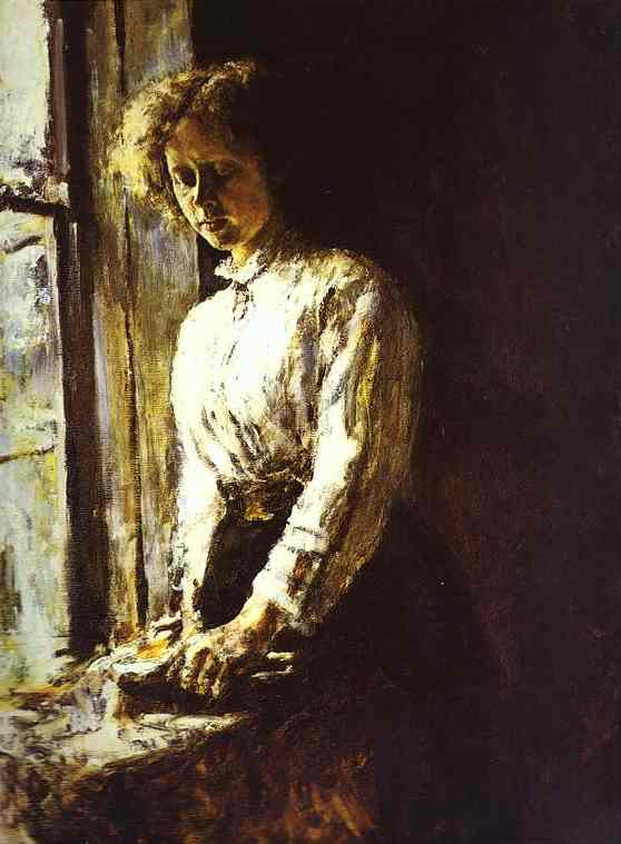 By The Window Portrait Of Olga Trubnikova 1886 | Valentin Serov | oil painting