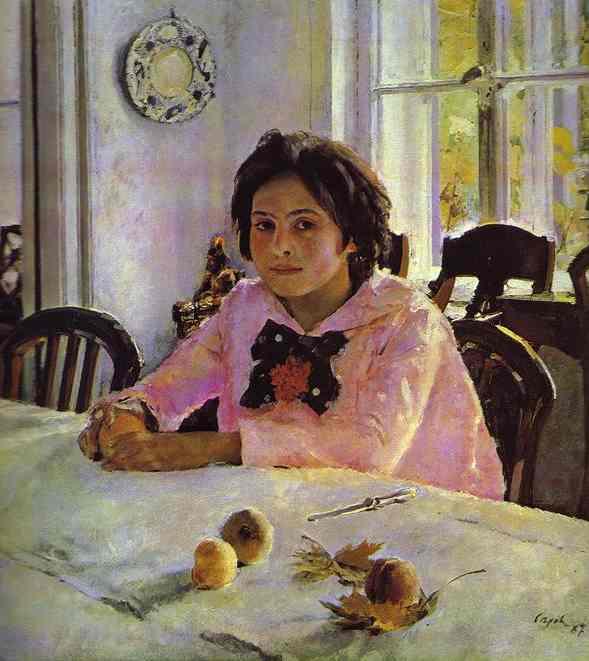Girl With Peaches Portrait Of Vera Mamontova 1887 | Valentin Serov | oil painting