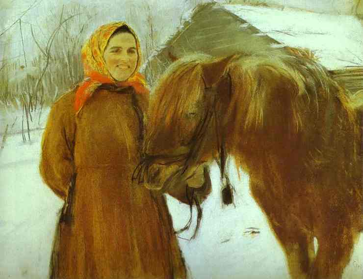 In A Village Peasant Woman With A Horse 1898 | Valentin Serov | oil painting