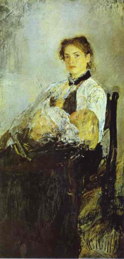 Portrait Of Nadezhda Derviz With Her Child 1888-89 | Valentin Serov | oil painting