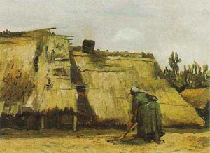 Cottage With Woman Digging 1885 | Vincent Van Gogh | oil painting