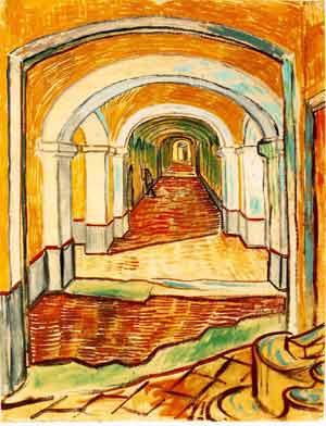 Corridor Of Saint Paul Asylum In Saint Remy 1889 | Vincent Van Gogh | oil painting