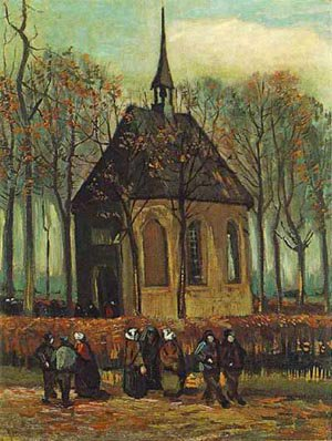Chapel At Nuenen With Churchgoers 1884 | Vincent Van Gogh | oil painting
