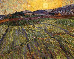 Wheat Field With Rising Sun 1889 | Vincent Van Gogh | oil painting