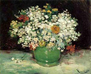 Vase With Zinnias And Other Flowers 1886 | Vincent Van Gogh | oil painting