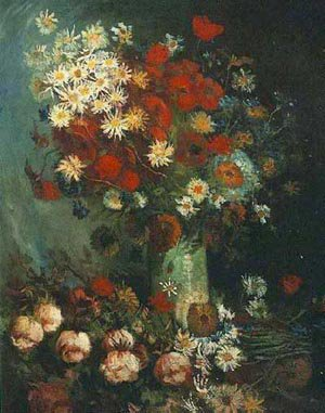 Vase With Poppies Cornflowers Peonies And Chrysanthemus 1886 | Vincent Van Gogh | oil painting