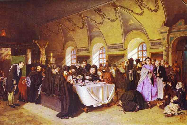 A Meal In The Monastery 1865-76 | Vasily Perov | oil painting